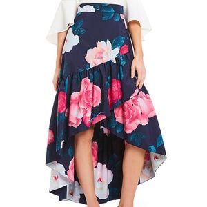 Eliza J high low floral wraplike wedding skirt